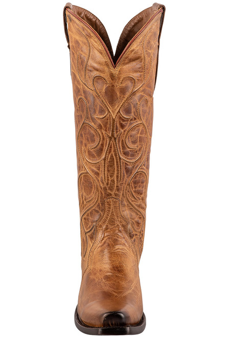 """Lucchese Patsy 13"""" Tan Mad Dog Cowboy Boots - Front"""