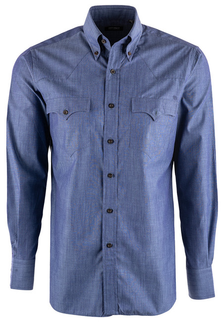 Lyle Lovett Solid Blue Light Chambray Shirt - Front