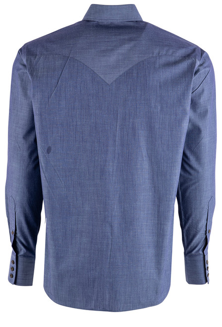 Lyle Lovett Solid Blue Light Chambray Shirt - Back