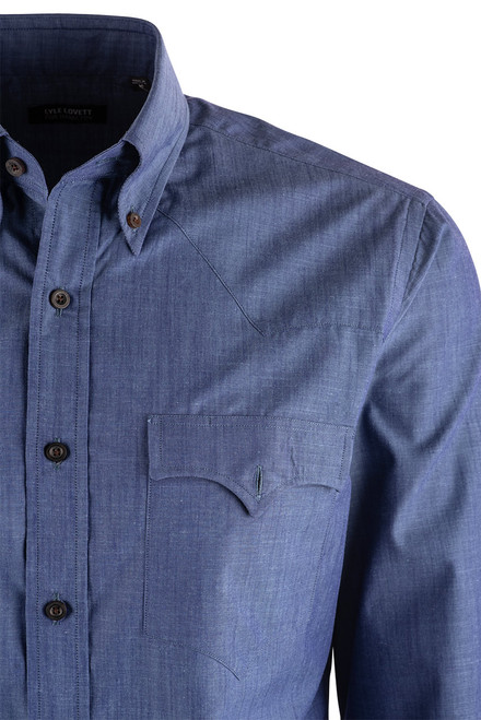 Lyle Lovett Solid Blue Light Chambray Shirt