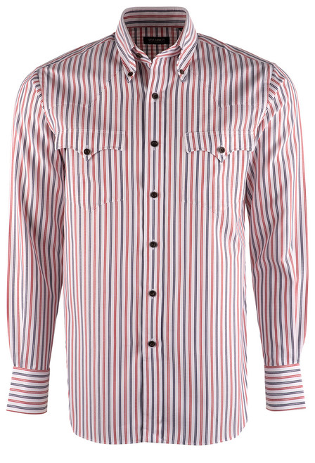 Lyle Lovett Red, White  & Blue Striped Shirt - Front