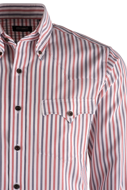 Lyle Lovett Red, White  & Blue Striped Shirt