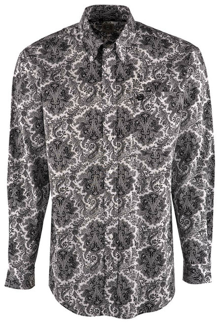 Cinch White Victorian Paisley Print Shirt - Front