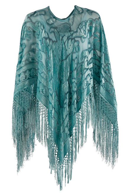 Pat Dahnke Turquoise Burnout Poncho - Front
