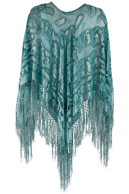 Pat Dahnke Turquoise Burnout Poncho - Back