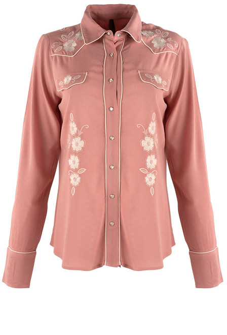 Stetson Apparel Pink Western Snap Blouse - Front