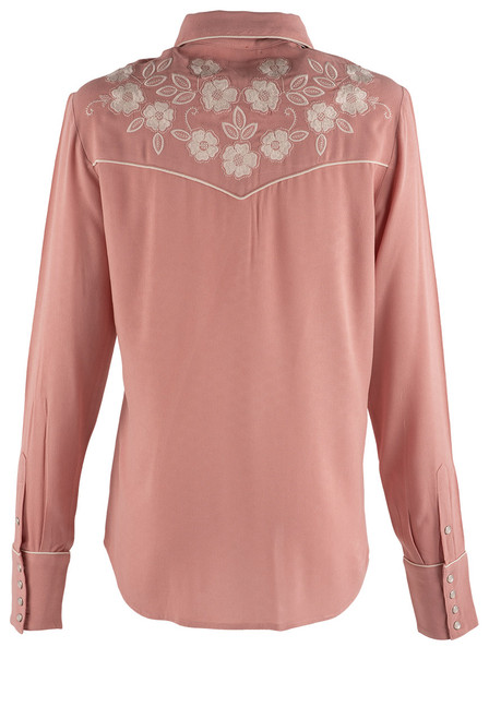 Stetson Apparel Pink Western Snap Blouse - Back