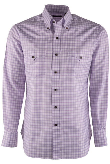 Lyle Lovett Lavender and White Check Twill Shirt - Front