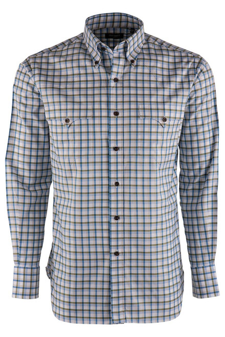 Lyle Lovett Olive and Sand Check Pinpoint Shirt - Front