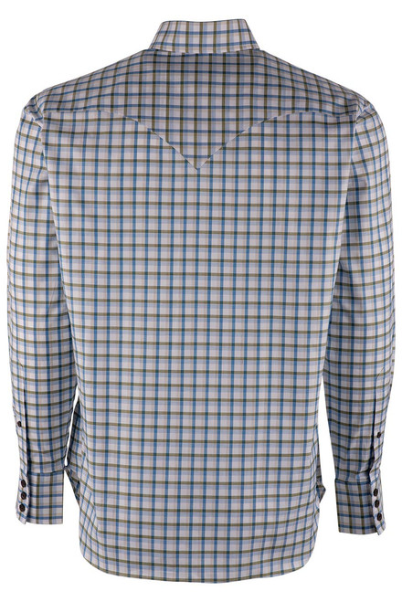 Lyle Lovett Olive and Sand Check Pinpoint Shirt - Back
