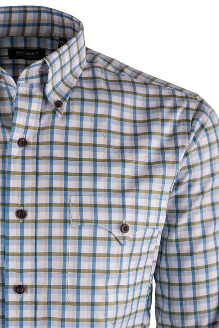 Lyle Lovett Olive and Sand Check Pinpoint Shirt - Yoke