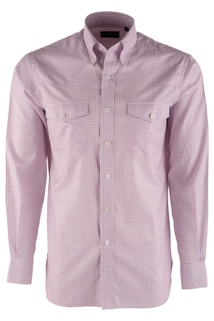 Pinto Ranch YY Collection Rose and Blue Check Shirt - Front
