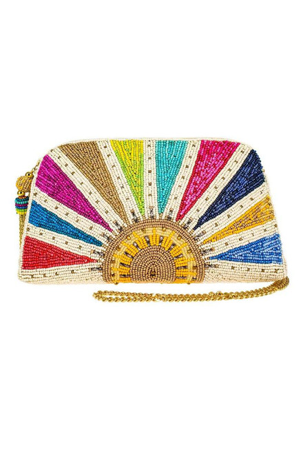 Mary Frances Rise and Shine Beaded Crossbody Clutch  - Front