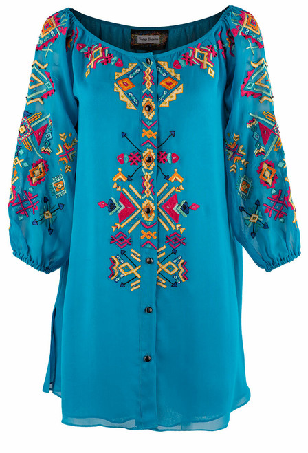 Vintage Collection Miriam Turquoise Georgette Tunic - Front