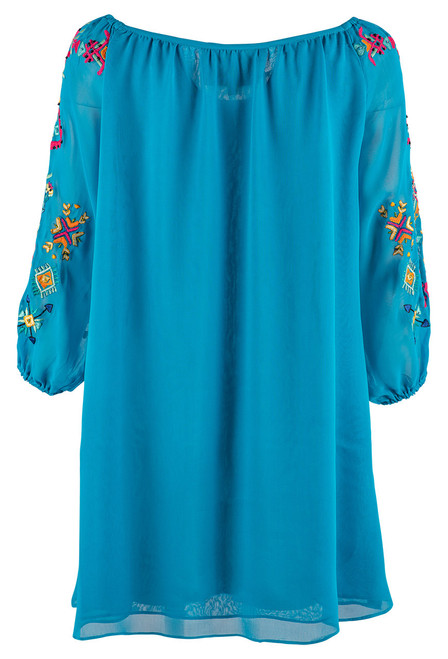 Vintage Collection Miriam Turquoise Georgette Tunic - Back