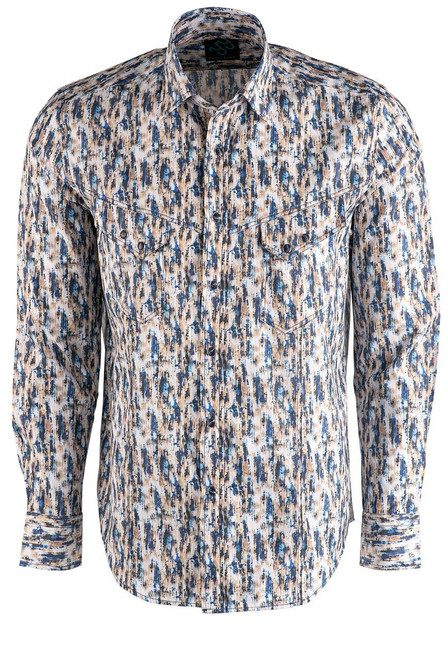 Pinto Ranch YY Collection Tan and Blue Shadow Print Shirt- Front