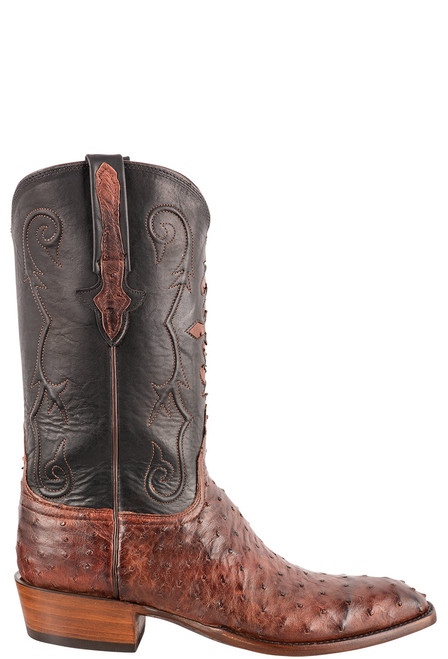 """Lucchese Men's 12"""" Antique Mahogany Full Quill Ostrich Boots - Side"""