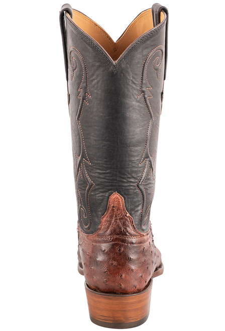 """Lucchese Men's 12"""" Antique Mahogany Full Quill Ostrich Boots - Back"""