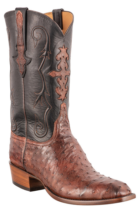 """Lucchese Men's 12"""" Antique Mahogany Full Quill Ostrich Boots - Angle"""