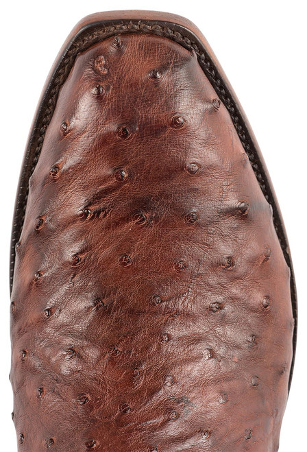 """Lucchese Men's 12"""" Antique Mahogany Full Quill Ostrich Boots - Toe"""