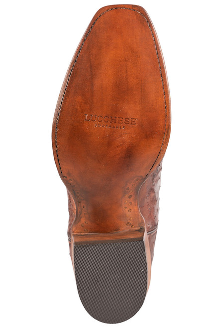 """Lucchese Men's 12"""" Antique Mahogany Full Quill Ostrich Boots - Sole"""