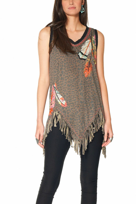 Double D Ranch Three Feathers Cheetah Print Tank - Front