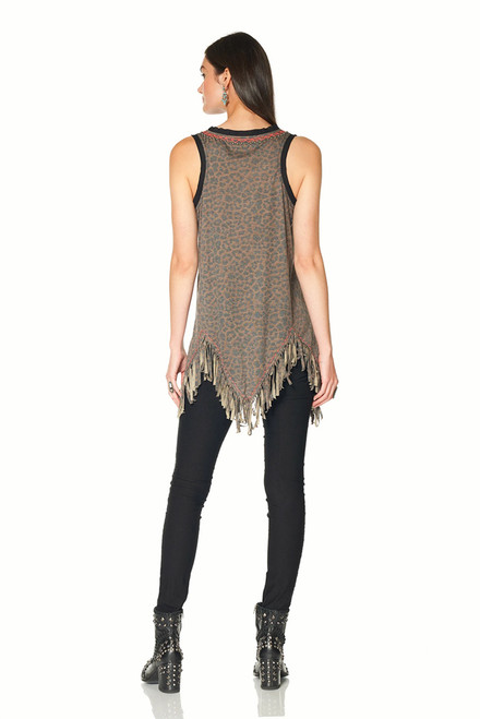 Double D Ranch Three Feathers Cheetah Print Tank  - Back