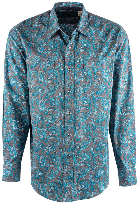 Stetson Blue Silver Springs Paisley Snap Shirt - Front