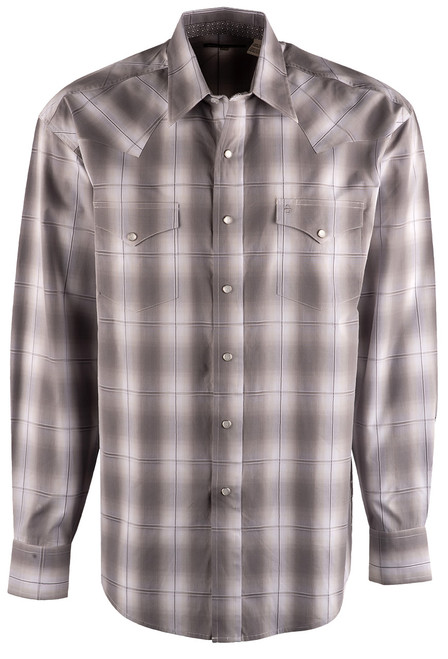 Stetson Grey Ombre Plaid Snap Shirt - Front