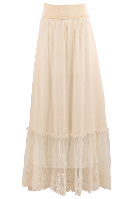 Pat Dahnke Ruffle and Lace Cream Maxi Skirt - Front