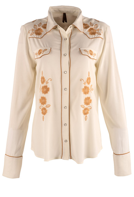 Stetson Apparel Cream Western Snap Blouse - Front
