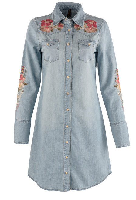 Stetson Apparel Chambray Shirt Dress with Embroidery - Front