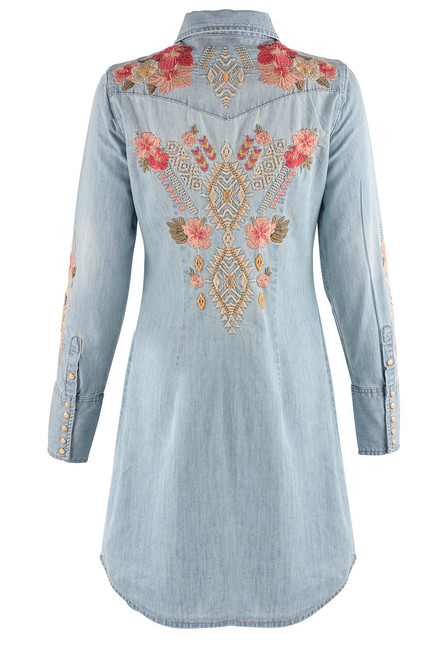 Stetson Apparel Chambray Shirt Dress with Embroidery -  Back