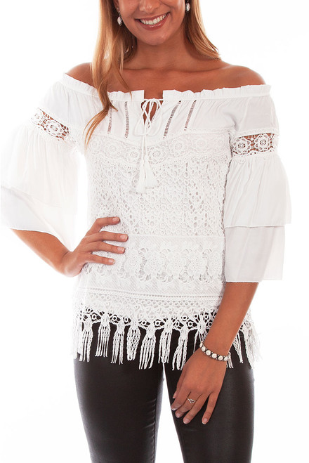 Scully Off the Shoulder Tiered Lace Blouse - Front