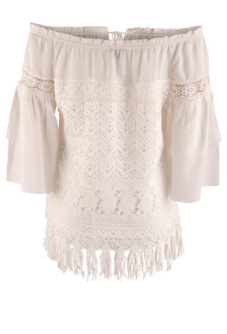 Scully Off the Shoulder Tiered Lace Blouse - Back