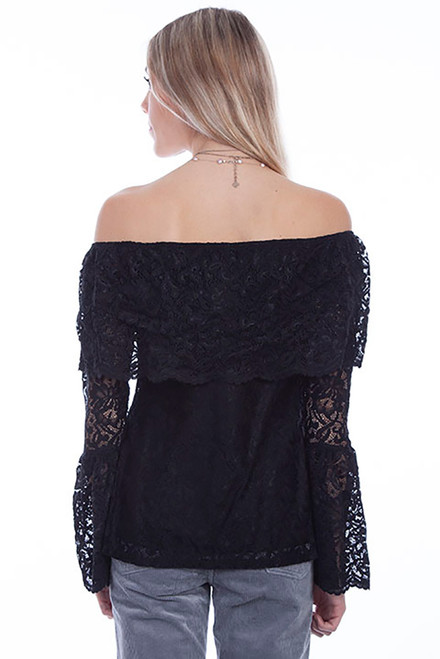 Scully Off the Shoulder Ruffled Lace Blouse - Back