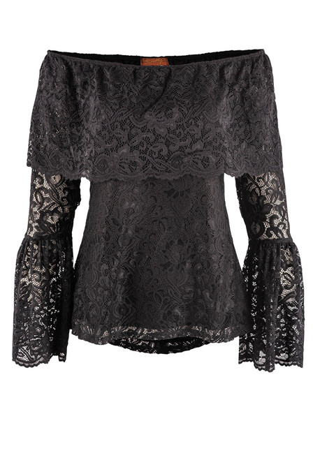 Scully Off the Shoulder Ruffled Lace Blouse - Front