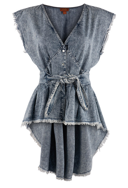 Scully Tie-Waist High Low Denim Blouse - Front