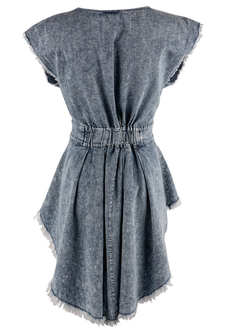 Scully Tie-Waist High Low Denim Blouse - Back