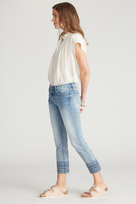 Driftwood Colette Diamond Embroidered Crop Jeans - Side