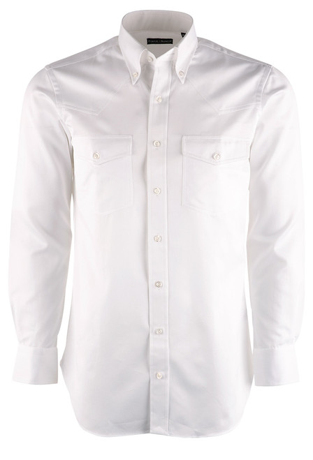 Lyle Lovett for Hamilton White Solid Royal Oxford Shirt - Front