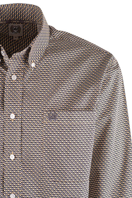Cinch Gold and Gray Oval Print Shirt