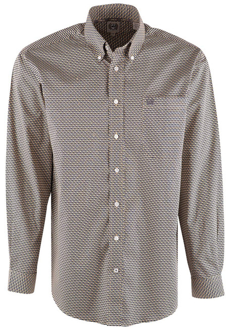 Cinch Gold and Gray Oval Print Shirt - Front