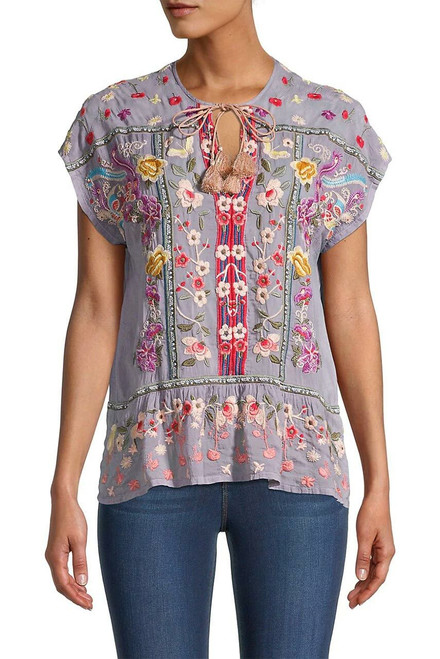 Johnny Was Talon Peplum Embroidered Top - Front