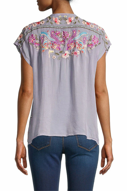 Johnny Was Talon Peplum Embroidered Top - Back