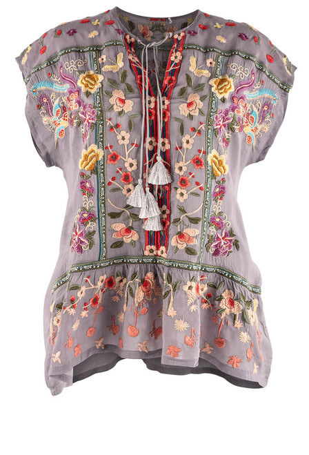 Johnny Was Talon Peplum Embroidered Top - Front 1