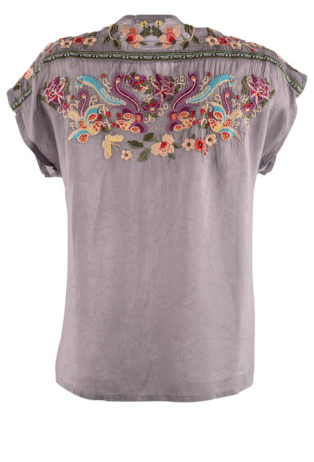 Johnny Was Talon Peplum Embroidered Top - Back 1