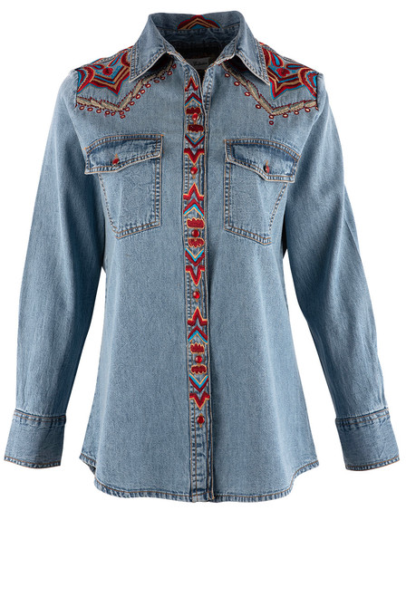 Vintage Collection Rita Denim Embroidered Western Shirt - Front