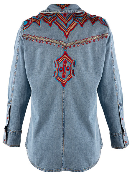 Vintage Collection Rita Denim Embroidered Western Shirt - Back