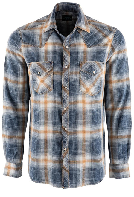 Pinto Ranch YY Collection Gold Washed Plaid Snap Shirt - Front